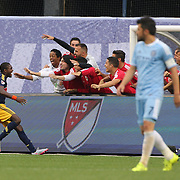 Chris Duvall, New York Red Bulls, celebrates with team mates after scoring his sides second goal as David Villa, NYCFC, looks on during the New York City FC Vs New York Red Bulls, MSL regular season football match at Yankee Stadium, The Bronx, New York,  USA. 28th June 2015. Photo Tim Clayton