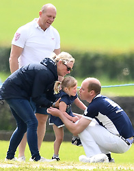 Members of the Royal Family attend as The Duke of Cambridge takes part in the Maserati Royal Charity Polo Trophy, at Beaufort Polo Club, Gloucestershire, UK, on the 11th June. 11 Jun 2017 Pictured: Mike Tindall, Zara Tindall, Mia Tindall, Prince William, Duke of Cambridge. Photo credit: James Whatling / MEGA TheMegaAgency.com +1 888 505 6342
