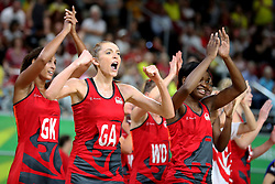 England's Helen Housby (GA) and her team-mates celebrate their win against New Zealand in the netball at the Gold Coast Convention and Exhibition Centre during day seven of the 2018 Commonwealth Games in the Gold Coast, Australia.