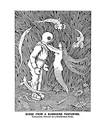 Scene from a Submarine Pantomime. Tantalising Position of a Susceptible Diver. (a Victorian cartoon showing a deep sea diver with a mermaid)
