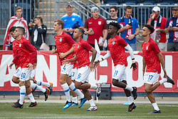 May 28, 2018 - Chester, PA, U.S. - CHESTER, PA - MAY 28: United States midfielder Tim Weah (11), United States midfielder Weston McKennie (6), United States defender Antonee Robinson (17), United States midfielder Christian Pulisic (10) and teammates warm up during the international friendly match between the United States and Bolivia at the Talen Energy Stadium on May 28, 2018 in Chester, Pennsylvania. (Photo by Robin Alam/Icon Sportswire) (Credit Image: © Robin Alam/Icon SMI via ZUMA Press)