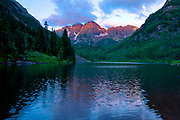 Sunrise at Maroon Lake in the Maroon Bells, Colorado