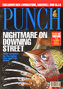 Punch (Margaret Thatcher caricatured as the character Freddy Kruger from the film Nightmare on Elm Street. Front cover 19 June 1991)