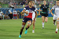 August 08, 2016; Rio de Janeiro, Brazil; USA Women's Eagles Sevens Joanne Fa'avesi runs in for a try against France during the Women's Rugby Sevens 5th Place Play-Off match on Day 3 of the Rio 2016 Olympic Games at Deodoro Stadium. Photo credit: Abel Barrientes - KLC fotos