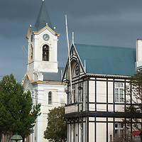A church and municipal building in Puerto Natales, Chile.