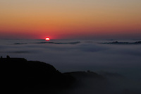 Sunrise Over a Fog Covered Missouri River at Theodore Roosevelt National Park in North Dakota. Image taken with a Nikon D300 and 18-200 mm VR lens (ISO 200, 60 mm, f/22, 1/100 sec).