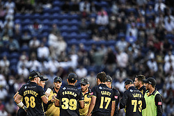 Glamorgan in a team huddle after taking a wicket<br /> <br /> Photographer Craig Thomas/Replay Images<br /> <br /> Vitality Blast T20 - Round 4 - Glamorgan v Middlesex - Friday 26th July 2019 - Sophia Gardens - Cardiff<br /> <br /> World Copyright © Replay Images . All rights reserved. info@replayimages.co.uk - http://replayimages.co.uk