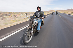 Californian and Thor Loser Steve Gonzales on his 1915 Harley-Davidson during the Motorcycle Cannonball Race of the Century. Stage-11 ride from Durango, CO to Page, AZ. USA. Wednesday September 21, 2016. Photography ©2016 Michael Lichter.