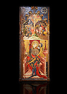 Gothic altarpiece depicting top, Calvary, bottom, St Sebastia (Sebastian) , by Joan Mates of Villafranca de Penedes, circa 1417-1425, from the refrectory of Pia Almoina, Barcelona, Temperal and gold leaf on wood.  National Museum of Catalan Art, Barcelona, Spain, inv no: MNAC  32340. Joan Mates was a Spanish painter of the International Gothic style. Against a black background. . .<br /> <br /> If you prefer you can also buy from our ALAMY PHOTO LIBRARY  Collection visit : https://www.alamy.com/portfolio/paul-williams-funkystock/gothic-art-antiquities.html  Type -     MANAC    - into the LOWER SEARCH WITHIN GALLERY box. Refine search by adding background colour, place, museum etc<br /> <br /> Visit our MEDIEVAL GOTHIC ART PHOTO COLLECTIONS for more   photos  to download or buy as prints https://funkystock.photoshelter.com/gallery-collection/Medieval-Gothic-Art-Antiquities-Historic-Sites-Pictures-Images-of/C0000gZ8POl_DCqE