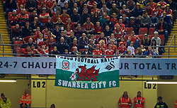 "CARDIFF, WALES - Thursday, October 11, 2018: Wales supporters' banner ""Proud Football Nation"" during the International Friendly match between Wales and Spain at the Principality Stadium. (Pic by Laura Malkin/Propaganda)"