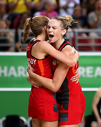 England's Helen Housby (left) and Joanne Harten celebrate their win against New Zealand in the netball at the Gold Coast Convention and Exhibition Centre during day seven of the 2018 Commonwealth Games in the Gold Coast, Australia.