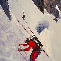 Bela Vadasz & Mixchael Graber ski below the U-Notch couloir on  the Palisade Glacier, Sierra Nevada, CA
