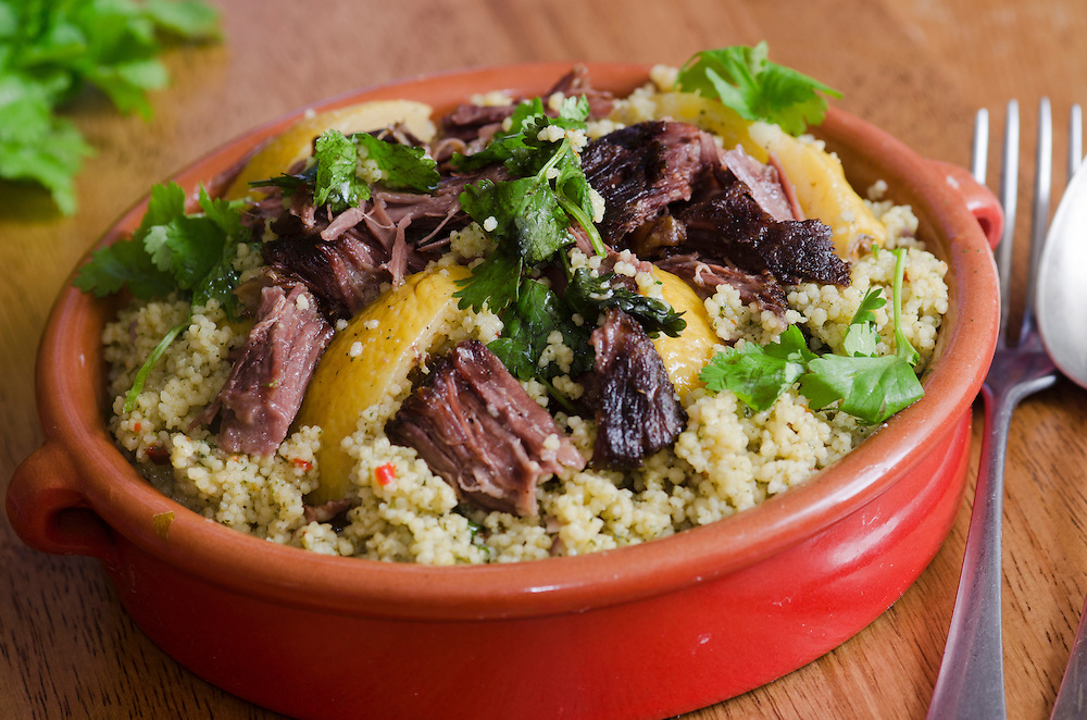 Traditional Moroccan beef tagine with couscous