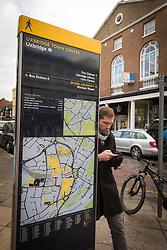 Uxbridge town centre information panel, West London UK. London Borough of Hillingdon