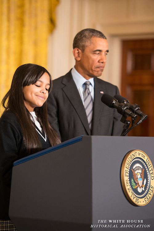 East Room, White House -- President Obama is introduced by Kiara Molina, a ninth-grader at the Harlem Children's Zone Promise Academy. Kiara, whose mother and grandmother are both from the Dominican Republic, lives in Harlem and has been with the Harlem Children's Zone since she was four years old.