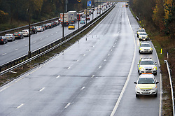 © Licensed to London News Pictures. 03/12/2012 London, UK. The M1 southbound carriageway closed between junctions 5 and 4 after two BMW's collided. Two men, the driver and front seat passenger in one of the cars, died at the scene. Photo credit : Simon Jacobs/LNP