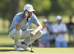 May 25, 2018 - Fort Worth, TX, USA - FORT WORTH, TX - MAY 25, 2018 - Chris Kirk lines up his putt on the 10th hole during the second round of the 2018 Fort Worth Invitational PGA at Colonial Country Club in Fort Worth, Texas (Credit Image: © Erich Schlegel via ZUMA Wire)