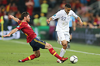 FOOTBALL - UEFA EURO 2012 - DONETSK - UKRAINE  - 1/4 FINAL - SPAIN v FRANCE - 23/06/2012 - PHOTO PHILIPPE LAURENSON /  DPPI - GAEL CLICHY (FRA) / XABI ALONSO (ESP)
