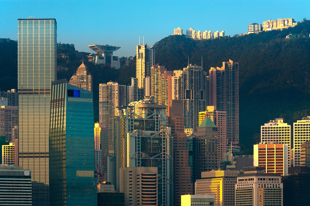 Skyline of modern office and apartment buildings in Hong Kong Island, China