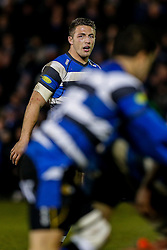Bath Inside Centre Sam Burgess, making his first start for the Club, looks on behind a ruck - Photo mandatory by-line: Rogan Thomson/JMP - 07966 386802 - 12/12/2014 - SPORT - RUGBY UNION - Bath, England - The Recreation Ground - Bath Rugby v Montpellier Herault Rugby - European Rugby Champions Cup Pool 4.