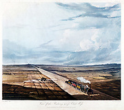 Train Crossing Chat Moss Bog. From T T Bury 'Coloured Views on the Liverpool and Manchester Railway', 1831. Engineer: George Stephenson.