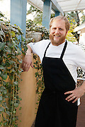 Chef Jacques Larson outside of the Wild Olive restaurant on Wadmalaw Island, South Carolina. The WIld Olive features Italian cusine with many ingrediants sourced from lowcountry farmers.