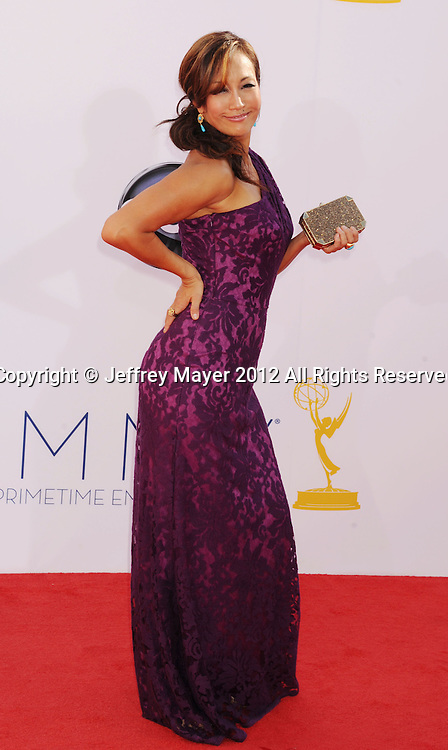 LOS ANGELES, CA - SEPTEMBER 23: Carrie Ann Inaba  arrives at the 64th Primetime Emmy Awards at Nokia Theatre L.A. Live on September 23, 2012 in Los Angeles, California.