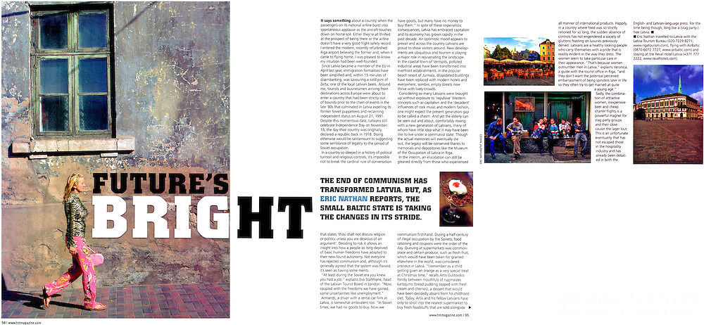 Tear sheet from TNT magazine of an article I wrote and photographed on Latvia.
