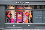 Shop window of the adult store Harmony promoting Lilly Allens Womanizer in Soho on 28th January 2021 in London, United Kingdom. Traditionally, this area of the West End has been the centre of the adult entertainment industry in London, UK with shops selling lingerie like this Harmony store.