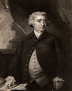 Charles James Fox (1749-1806) English Whig (Liberal) politician.  According to Edmund Burke he was 'The greatest debater the world ever saw'.  Engraving after the portrait by Joshua Reynolds from 'The Gallery of Portraits' Vol I by Charles Knight (London, 1883)