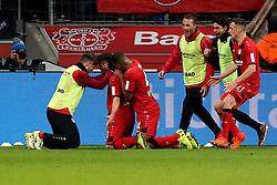 LEVERKUSEN, Nov. 19, 2017  Kevin Volland (2nd L) of Leverkusen celebrates during the Bundesliga match between Bayer 04 Leverkusen and RB Leipzig in Leverkusen, Germany, on Nov. 18, 2017. The match ended 2-2. (Credit Image: © Joachim Bywaletz/Xinhua via ZUMA Wire)