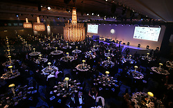 Table arrangement ahead of the 2018 PFA Awards at the Grosvenor House Hotel, London. PRESS ASSOCIATION Photo. Picture date: Sunday April 22, 2018. See PA story SOCCER PFA. Photo credit should read: Steven Paston/PA Wire