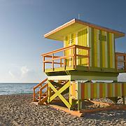 Colorful Lifeguard Hut at Sunrise in Miami Beach, Florida