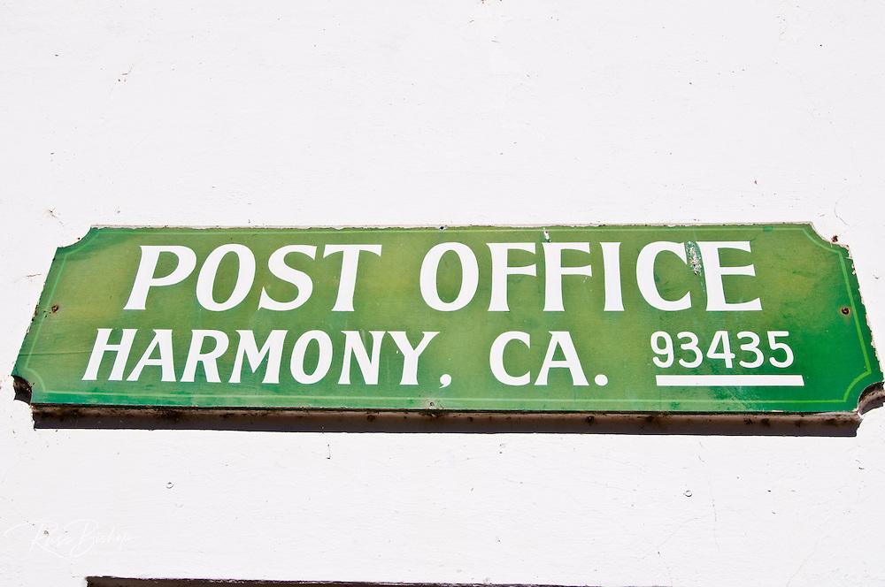 Sign at the Harmony Post Office, Harmony, California