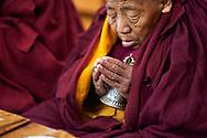 Morning puja (buddhist ritual) - Geden Choeling nunnery, Dharamsala, India, 2009