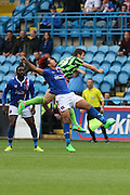Bastien Hery and Jon Meades of AFC Wimbledon during the Sky Bet League 2 match between Carlisle United and AFC Wimbledon at Brunton Park, Carlisle, England on 22 August 2015. Photo by Stuart Butcher.