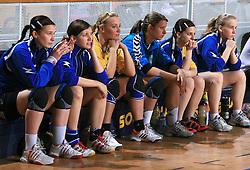 Team of Zalec at Women Slovenian Handball Cup, finals match for third place between RK Celeia Zalec and ZRK Krka, on April 5, 2009, in Arena Tivoli, Ljubljana, Slovenia. Won of Krka 27:24. (Photo by Vid Ponikvar / Sportida)
