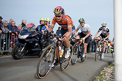 Amy Pieters (Boels Dolmans) is the first to crest VAMberg for the second ascent at Ronde van Drenthe 2017. A 152 km road race on March 11th 2017, starting and finishing in Hoogeveen, Netherlands. (Photo by Sean Robinson/Velofocus)