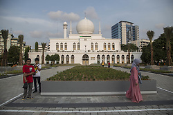 April 14, 2017 - Jakarta, Jakarta, Indonesia - Jakarta, Indonesia, 14 April 2017 : The New look of Al Azhar Mosque at South Jakarta. Al-Azhar Great Mosque is a mosque located in Jalan Sisingamangaraja, Kebayoran Baru, Jakarta. The mosque was constructed between 1953 and 1958. It was originally known simply as Mesjid Agung. The mosque is one of famous mosque in Jakarta. (Credit Image: © Donal Husni via ZUMA Wire)