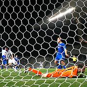 Besiktas's scores during the UEFA Europa League Play Offs Second leg soccer match Besiktas between Tromso at Ataturk Olimpiyat stadium in Istanbul Turkey on Thursday August 29, 2013. Photo by Aykut AKICI/TURKPIX