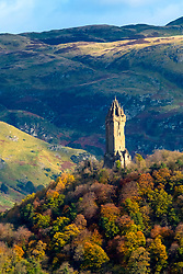 View of Wallace Monument in Stirling, Stirlingshire, Scotland, United Kingdom.