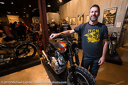 Greg Hageman of Hageman Classic Motorcycle Engineering (FL) on Saturday at the Handbuilt Motorcycle Show. Austin, TX. April 11, 2015.  Photography ©2015 Michael Lichter.