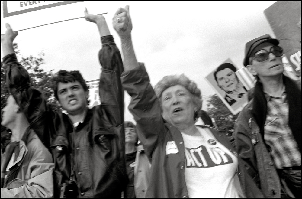 ACT UP participates in an action at The US Department of Health & Human Services in Washington DC on October 10, 1988, the day before the FDA action.