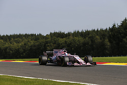 August 25, 2017 - Francorchamps, Belgium - SERGIO PEREZ of Mexico and Sahara Force India F1 team drives during practice session of the 2017 Formula 1 Belgian Grand Prix in Francorchamps, Belgium. (Credit Image: © James Gasperotti via ZUMA Wire)