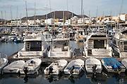Pleasure boats in the harbour at Corralejo, Fuerteventura, Canary Islands, Spain