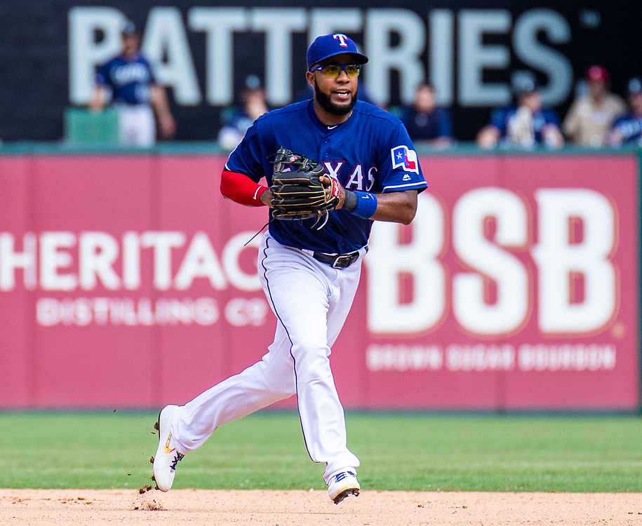 Aug 01 2019, Arlington, TX  U.S.A. Texas shortstop Elvis Andrus (1) makes a play at short shop during the MLB game between the Seattle Mariners and the Texas Rangers 11-3 lost at Globe Life Park in Arlington,TX. Thurman James / CSM