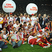 Galatasaray's players celebrate victory during their Turkish Super League soccer match Galatasaray between Sivasspor at the AliSamiYen Spor Kompleksi TT Arena at Seyrantepe in Istanbul Turkey on Sunday 05 May 2013. Galatasaray to claim its 19th Spor Toto Super League title with a victory over Sivasspor. Galatasaray is seven points ahead of their archrival Fenerbahçe, and will retain their title as long as they win at least one of their remaining three matches in the Turkish super league. Photo by TURKPIX