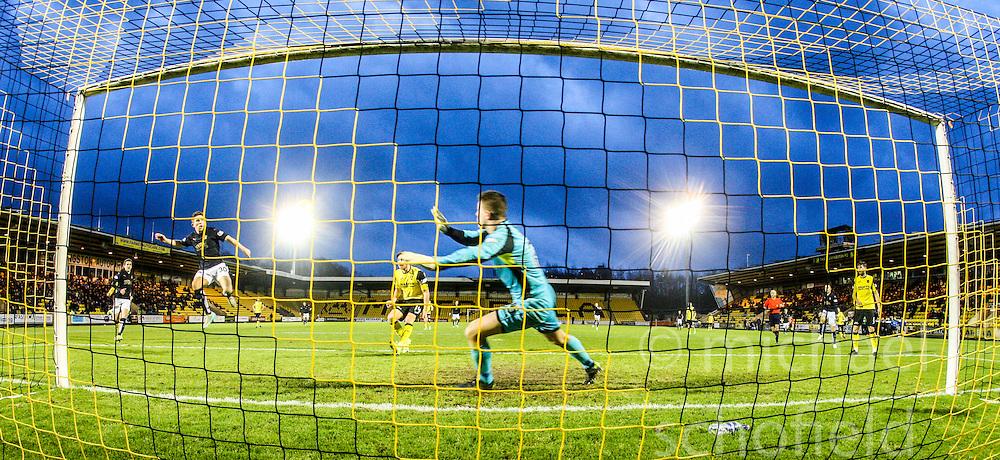 Livingston keeper Marc McCallum as Falkirk's Kevin O'Hara misses a chance. <br /> Livingston 1 v 1 Falkirk, Scottish Championship game at The Tony Macaroni Arena at 23/1/2016.