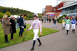 Jockey William Buick makes his way out ahead of the British EBF Maiden Fillies' Stakes at Nottingham Racecourse. Picture date: Wednesday October 13, 2021.