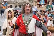 A knight character in Verona's carnival parade